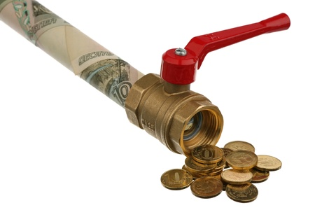 Bronze faucet with the red handle and Russian money over white  photo