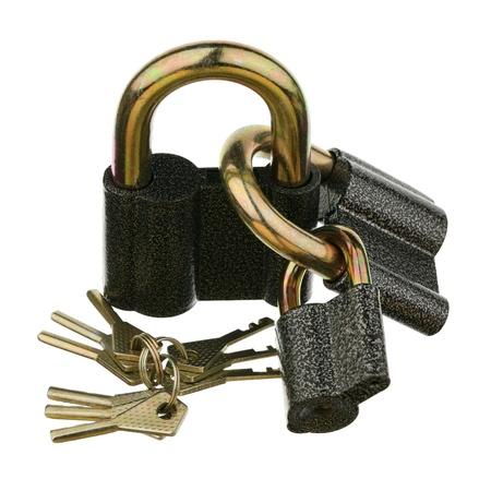 correlation: Three padlocks are isolated on a white background