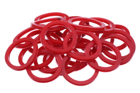 Red gaskets are isolated on a white background