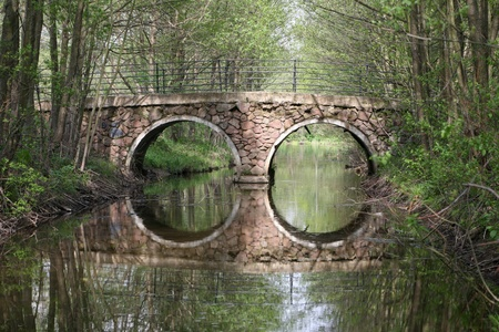 reflexion: The bridge over the river and its reflexion in water
