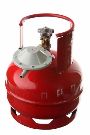 cilindro de gas: Cilindro de gas en un fondo blanco