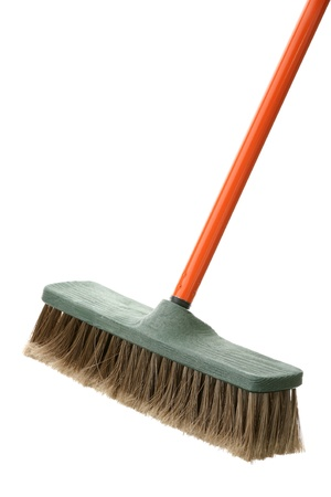 Brush for a floor with the orange handle