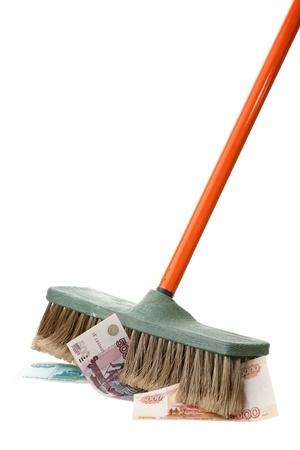 A new broom sweeps clean on a white background