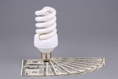 socle: The saved money and light bulb  Stock Photo