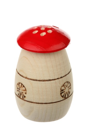pepperbox: Wooden saltcellar-pepperbox are isolated on a white background Stock Photo