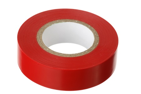 adhesive tape: Red adhesive insulating tape on a white background