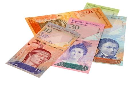 venezuela: The pile of money of Venezuela is isolated on a white background