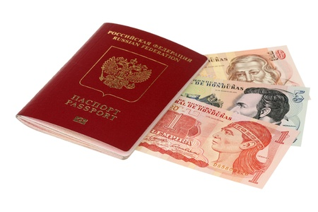 Russian passport and pile of money of Honduras are isolated on a white background  Stock Photo