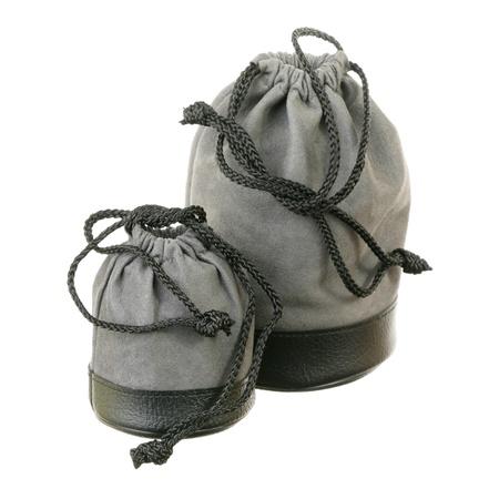Two grey sacks over white  Stock Photo