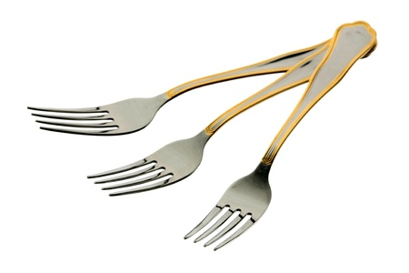 Three metal forks on a white background  Stock Photo
