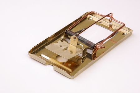 Empty gold metal mousetrap on a gray background