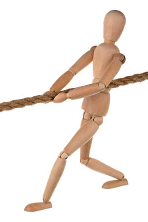 One dummy pulls on a rope on white background