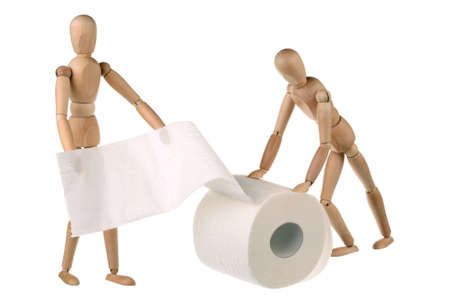 Two dummy and a roll of toilet paper  Isolated on white  photo