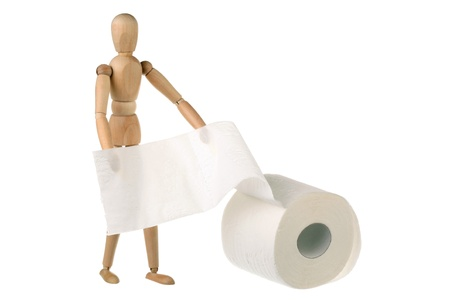 One dummy and a roll of toilet paper. Isolated on white.  photo