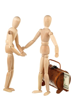 One dummy requests money from the greedy rich isolated on white background  photo