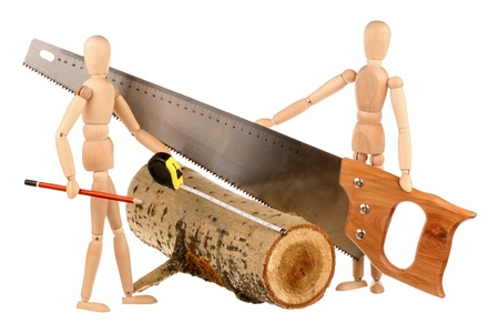 Two dummy ready to saw logs isolated on a white background