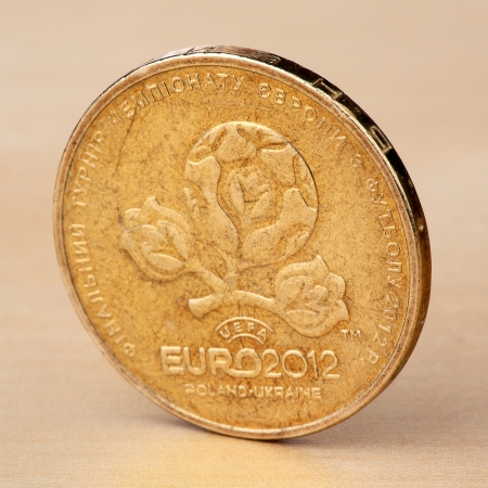 Hryvnia - Ukrainian coin dedicated to Euro-2012 photo