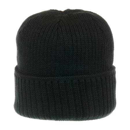 cold weather: Black knit hat isolated on white background Stock Photo