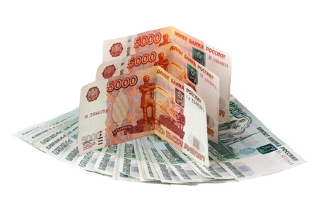 Russian money are isolated on a white background Stock Photo