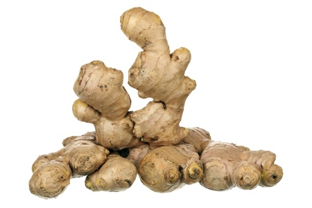 cranky: Composition of ginger root isolated on white background