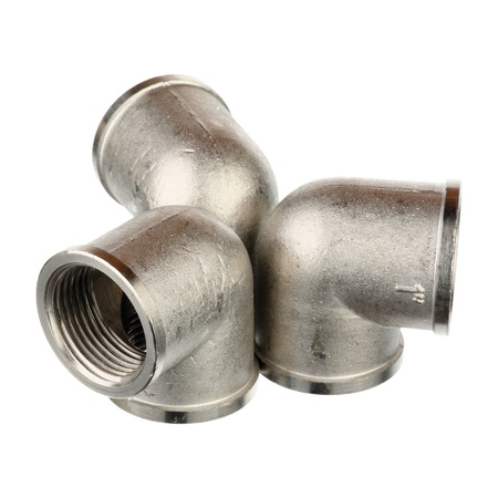 Three metallic fittings isolated over white background  Stock Photo