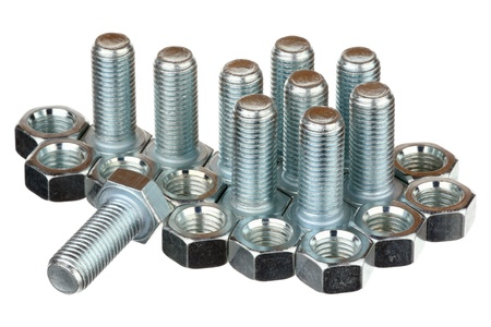 standard steel: Screw bolts and nuts isolated on a white background