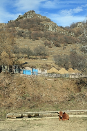 Autumn in mountain village. Northern Caucasus, Russia.