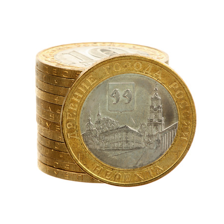 Russian coin Nerekhta and pile of coins