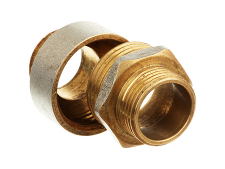 Brass fittings isolated on a white background
