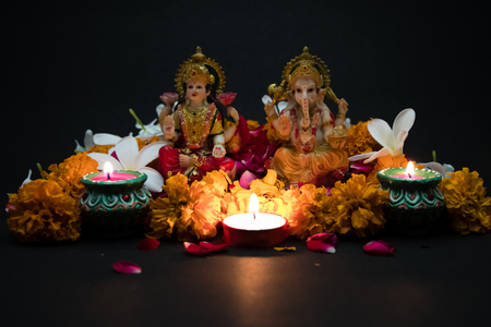 God Laxmi Ganesh statue Diwali Festival Stockfoto