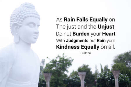 As rain falls equally on the just and the unjust, do not burden your heart with judgments but rain your kindness equally on all - buddha Imagens