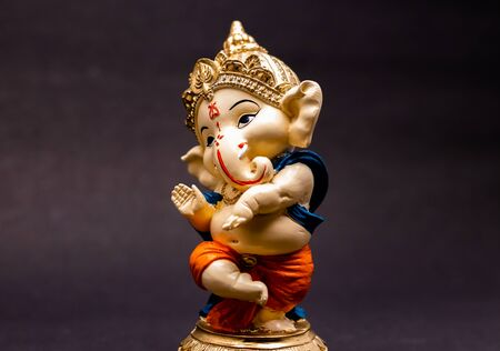 front view of beautiful ganesha statue on blurry background, traditional concept Stock Photo