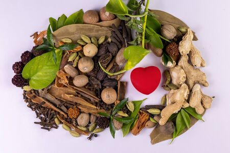 close-up of assorted Indian Spices with green leaves and red heart on white background. Herbal medicines for heart concept
