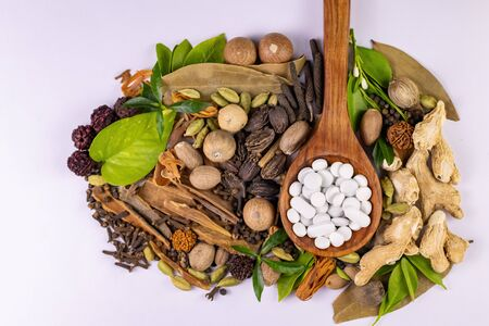 close-up view of assorted Indian Spices with green leaves and white ayurvedic pills in a wooden spoon. Ayurvedic concept