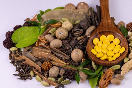Herbal medicine concept. Angled macro shot of Ayurvedic pills in wooden spoon, assorted spices and green leaves on white background