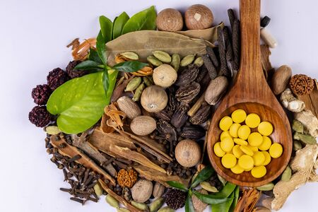 Herbal treatment concept. Ayurvedic medicines in wooden spoon and spices on white background
