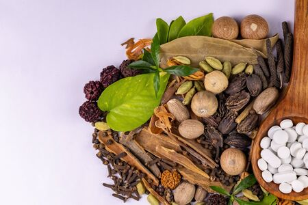 Top view of assorted Indian Spices with green leaves and white herbal tablets in a wooden spoon. herbal concept