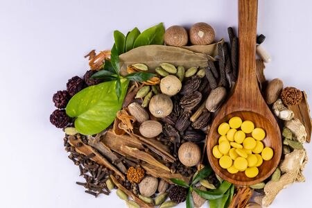 Ayurvedic medicine concept. Ayurvedic pills in wooden spoon and spices on white background Banco de Imagens