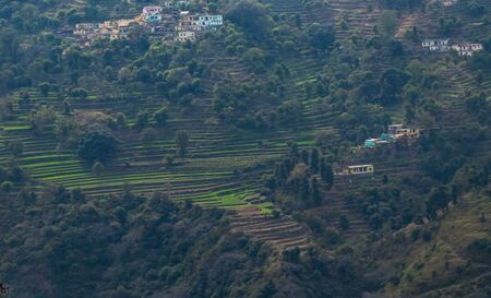 aerial view of beautiful terrace type crop field with few houses on mountain Imagens