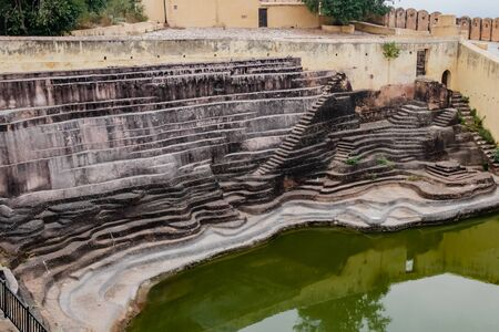 High angle shot of a stepwell made for storage of water during old times -Rain Water Harvesting concept