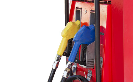 spacing: Fuel pump in the gas station on white background and spacing for caption