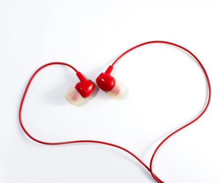 earbud: red earphones in heart shape, love, music