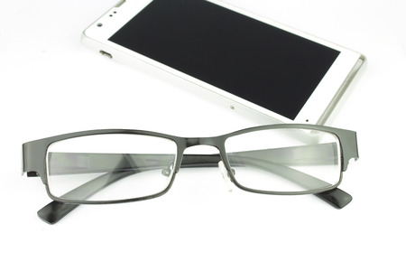 man glasses: Old man glasses with smart phone, concept