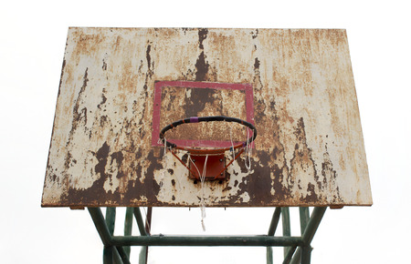 iron hoops: basketball iron board, backboard, dirty, grunge, old on white background, isolated Stock Photo