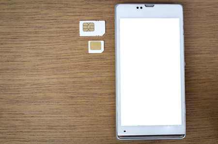 smart phone use with micro sim card or normal sim card, white screen photo