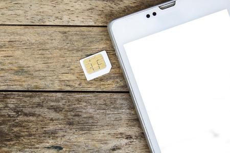 smart phone use with micro sim card, white screen photo
