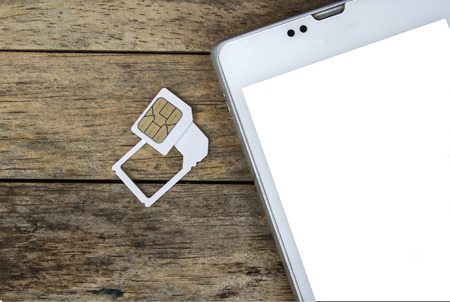 smart phone use with micro sim card by adapter and normal sim card, white screen photo