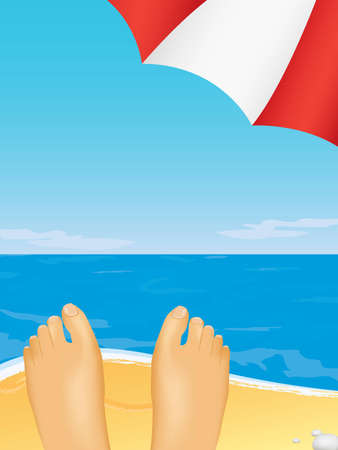 taking a rest under the umbrella on the beach Vector