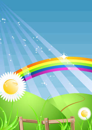 shiny rainbow scenery with copyspace Illustration