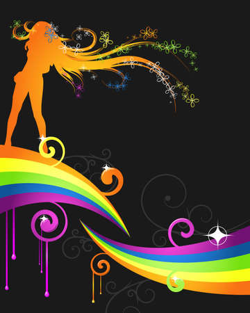 abstract rainbow dance flyer Vector